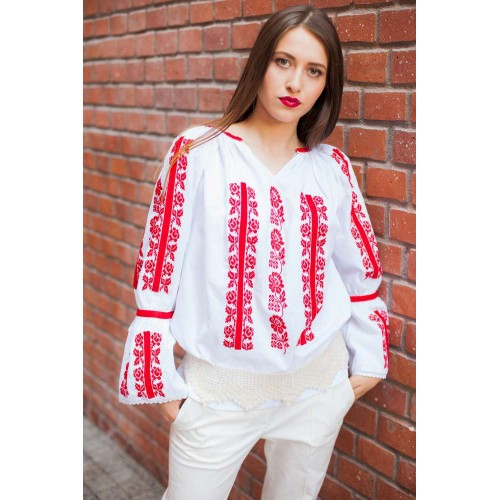 Ia românească, ia tradiţională: Peony blouse - Red