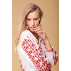 Red Romanian Blouse - Longing Flowers