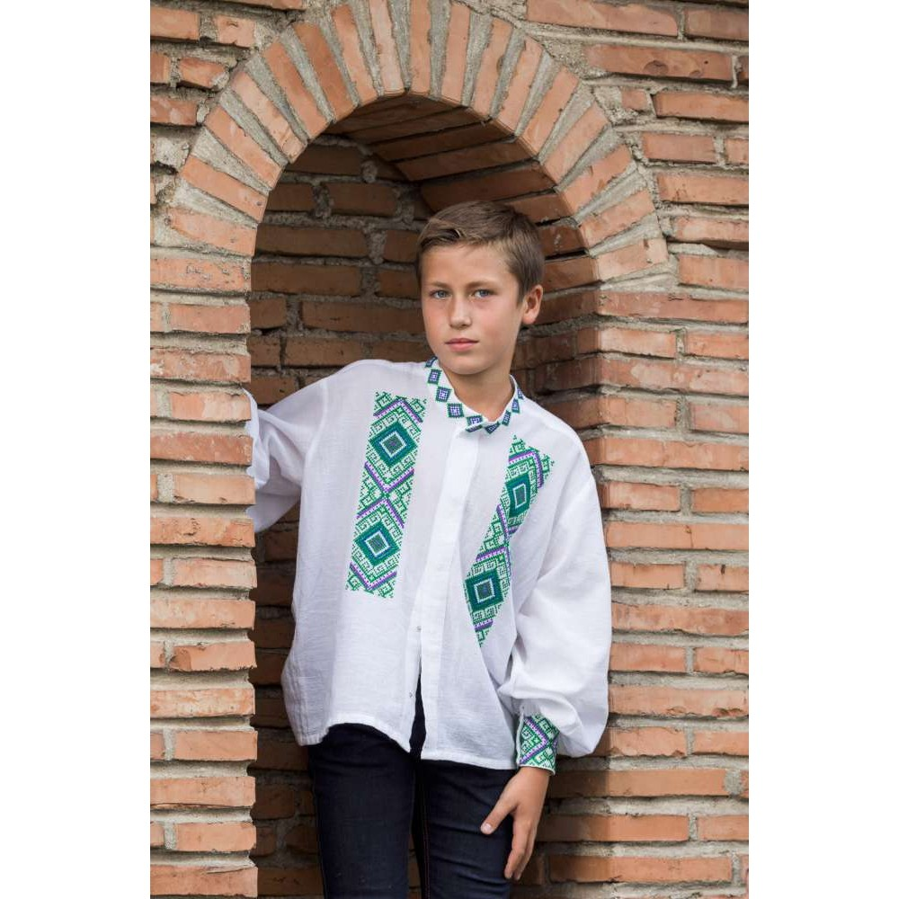 Romanian blouse for boys - little diamonds